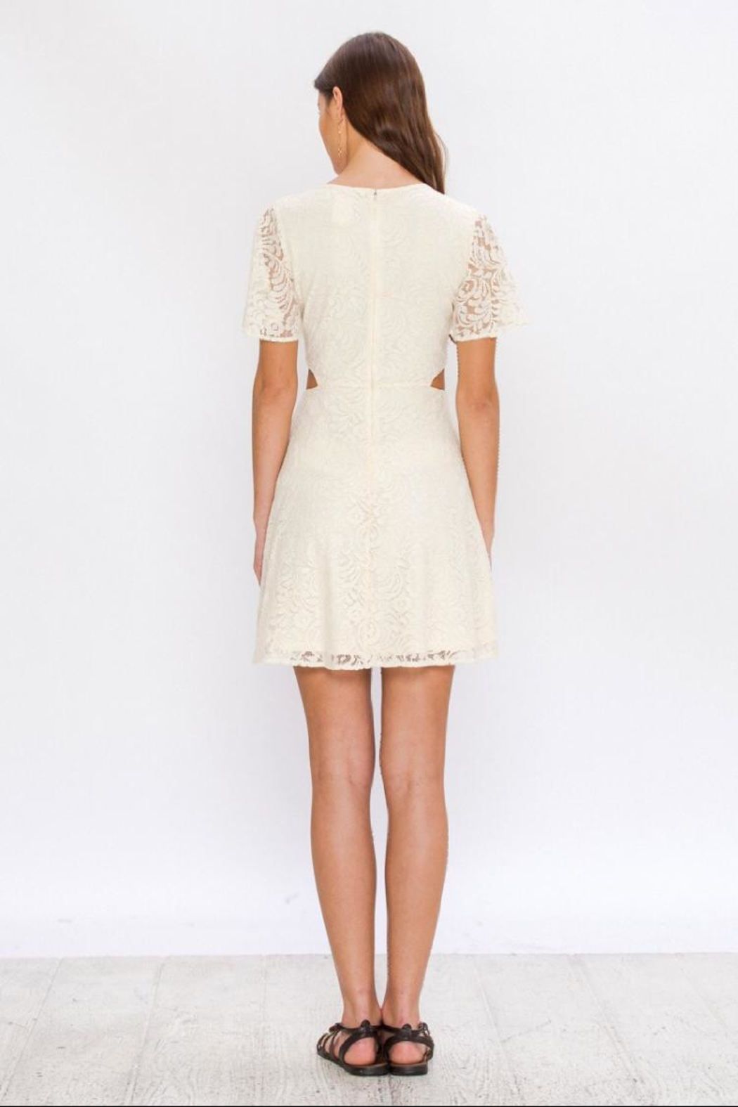 Flying Tomato Embroidered Lace Dress - Side Cropped Image