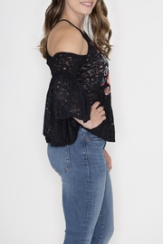 Flying Tomato Embroidered Ruffle Top - Front full body
