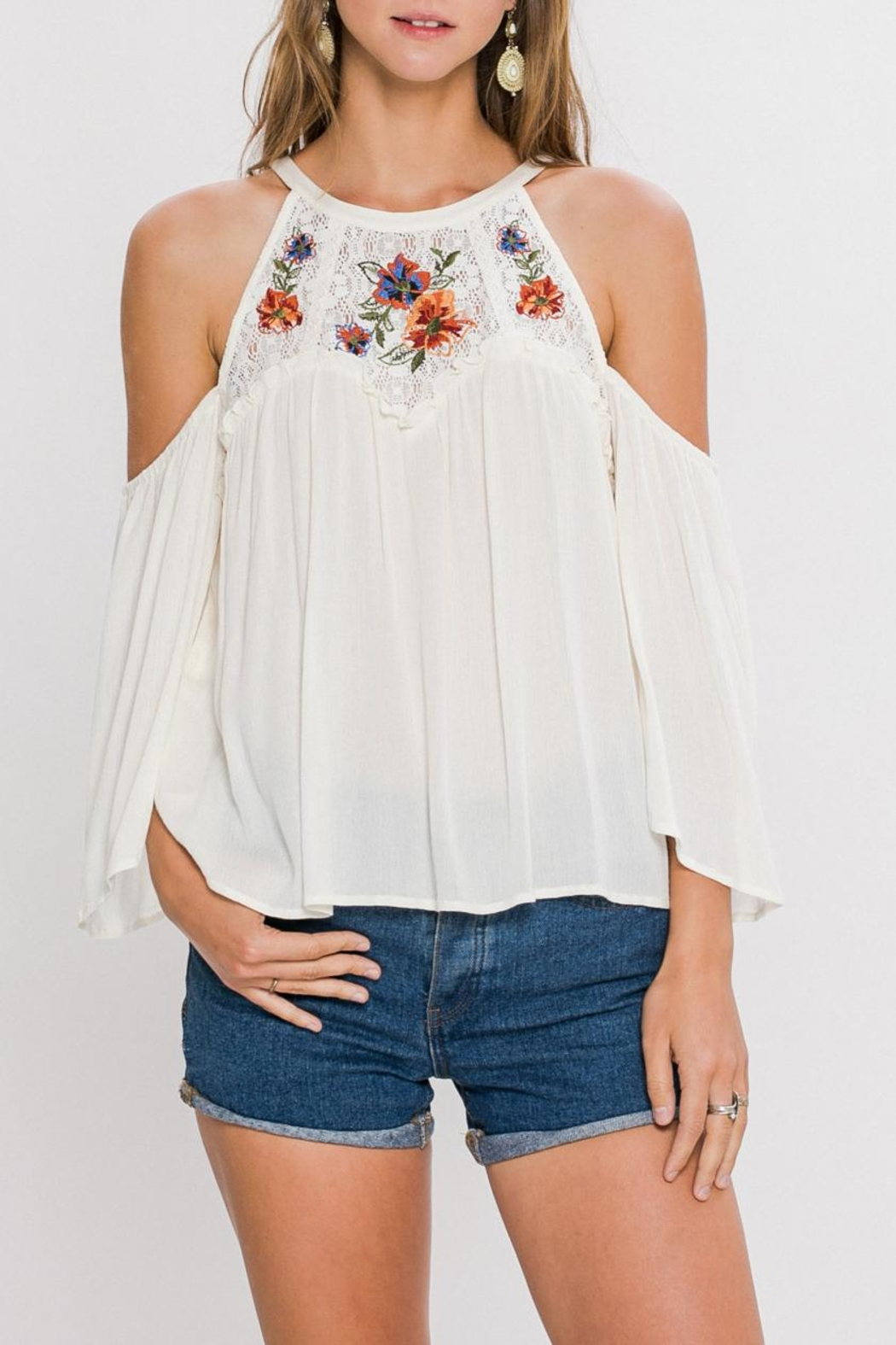 Flying Tomato Floral Embroidery Top - Main Image