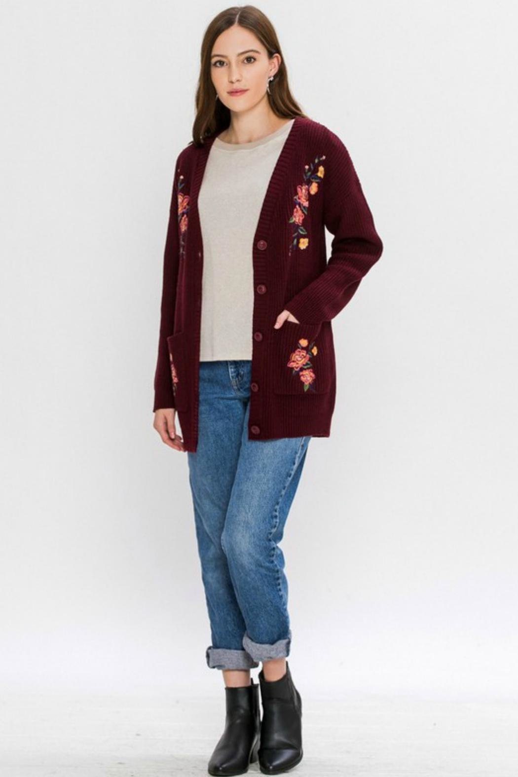 Flying Tomato Floral-Emroidered Knit Cardigan - Back Cropped Image