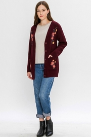 Flying Tomato Floral-Emroidered Knit Cardigan - Back cropped