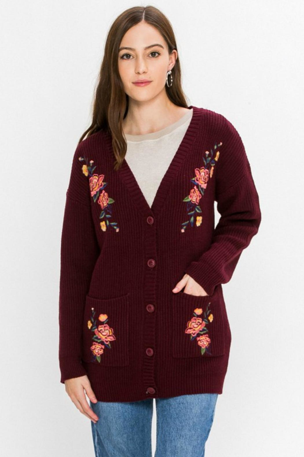 Flying Tomato Floral-Emroidered Knit Cardigan - Main Image