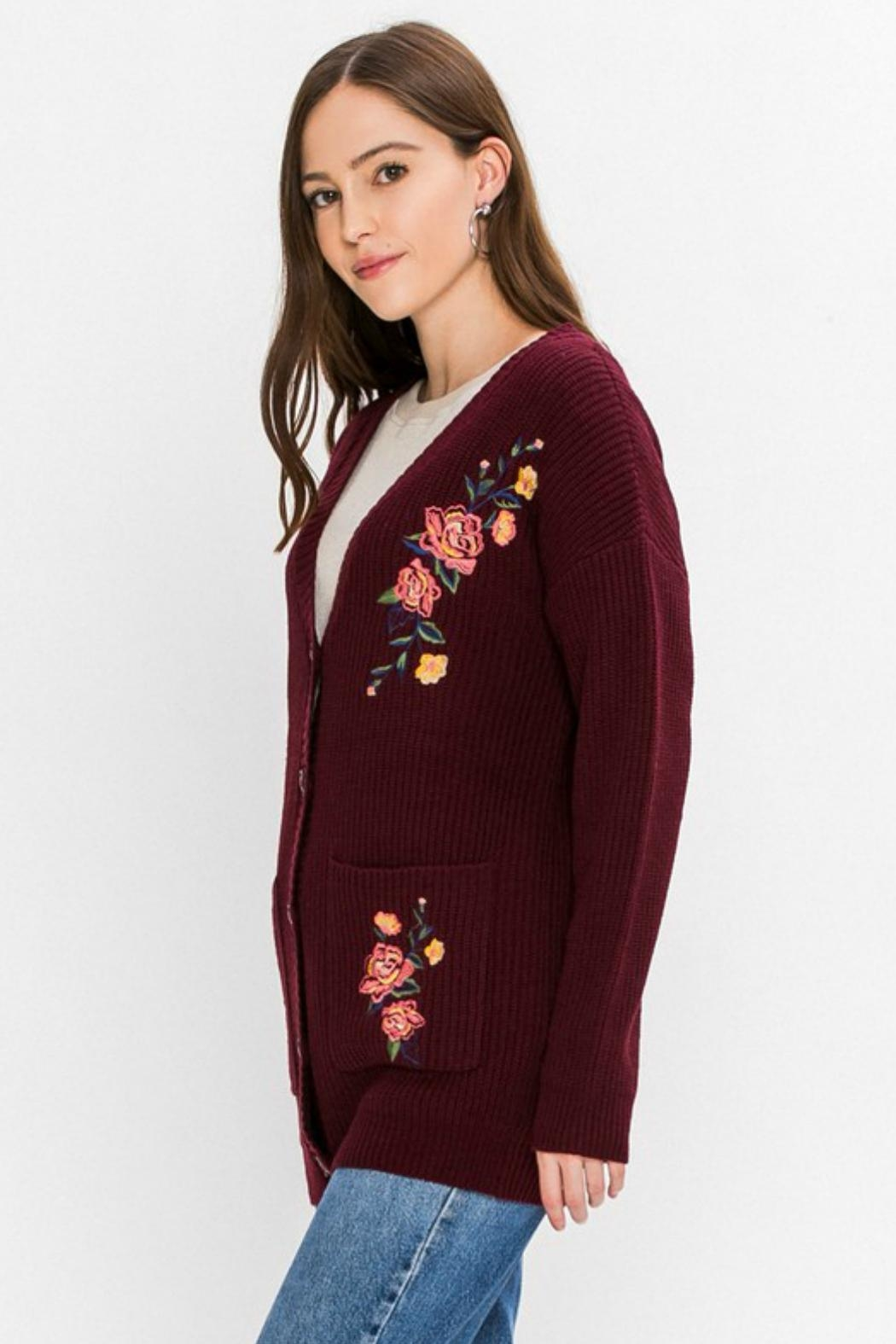 Flying Tomato Floral-Emroidered Knit Cardigan - Side Cropped Image