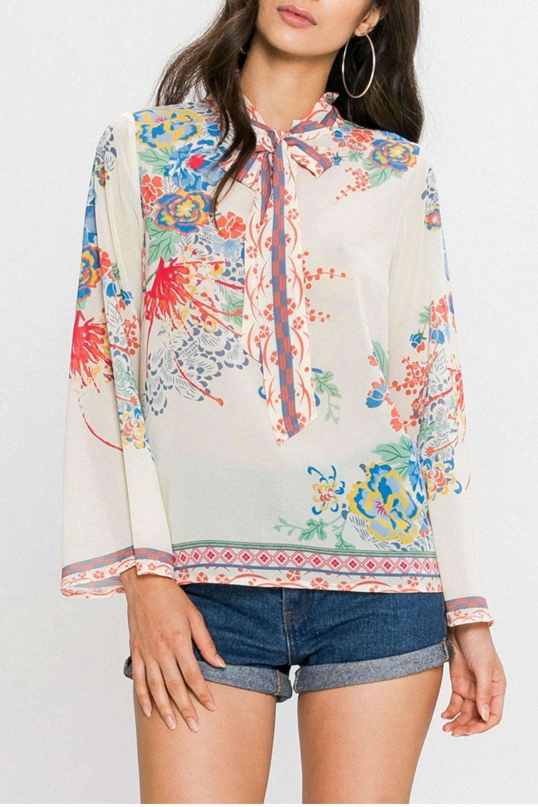 Flying Tomato Floral Print Blouse - Front Cropped Image