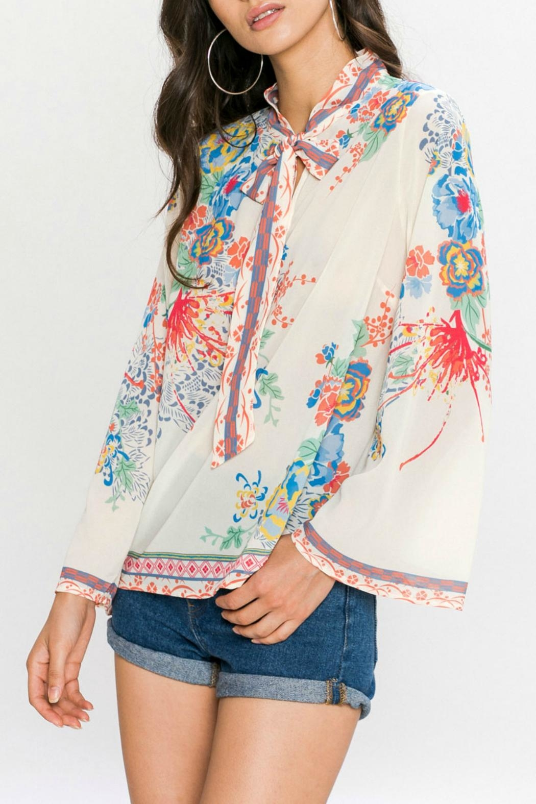 Flying Tomato Floral Print Blouse - Back Cropped Image