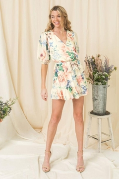 Flying Tomato Floral Puff-Sleeve Romper - Product List Image