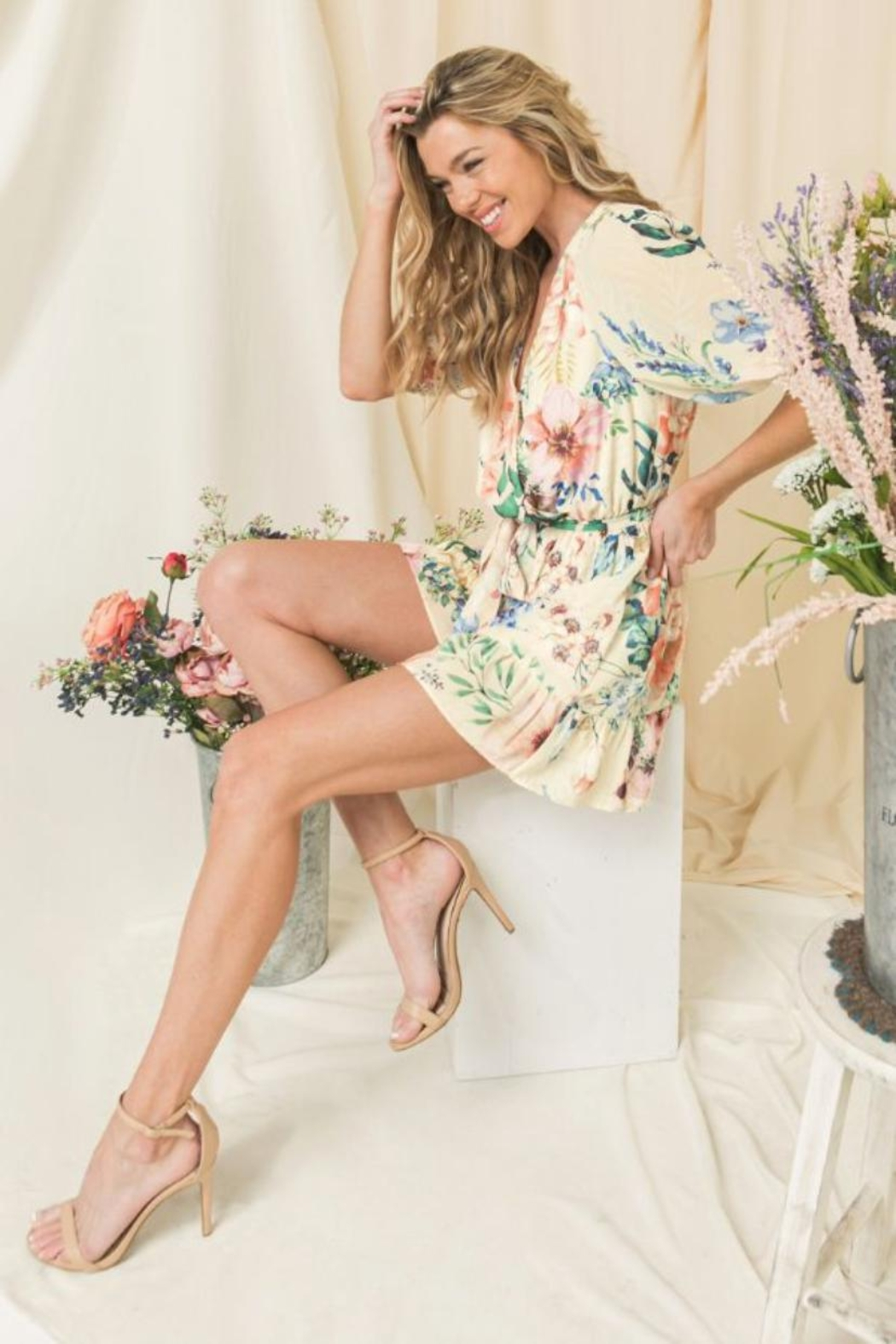 Flying Tomato Floral Puff-Sleeve Romper - Front Full Image