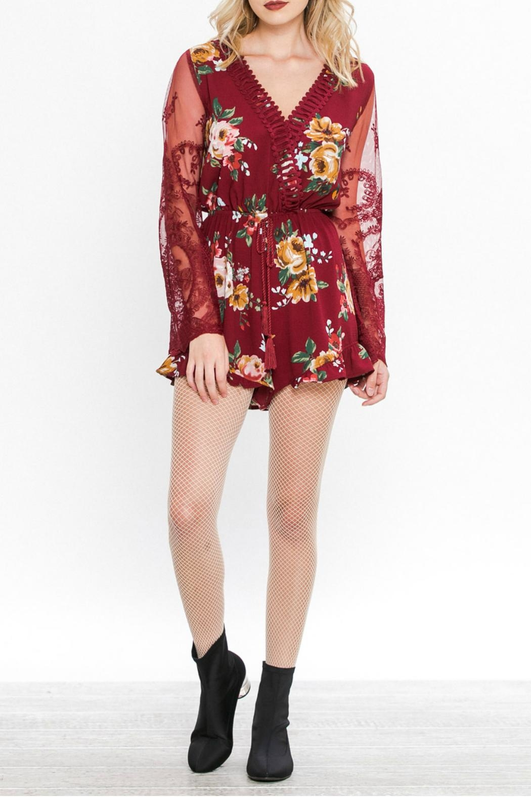 Flying Tomato Floral Romper - Front Full Image