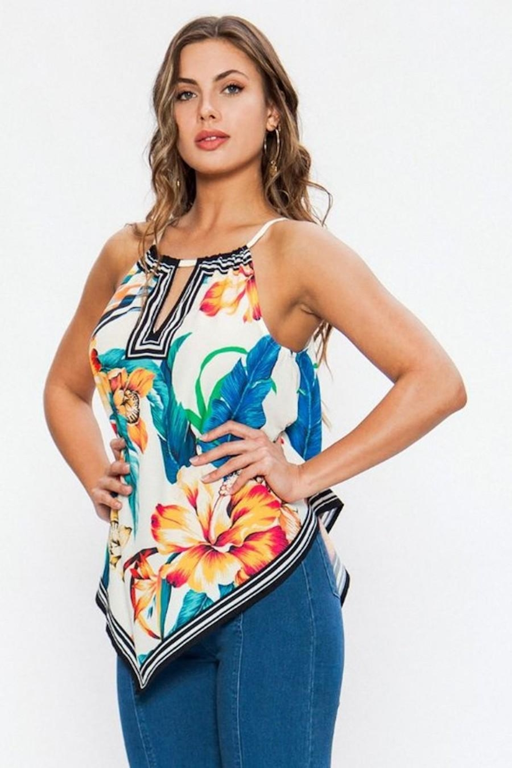 Flying Tomato Floral With Stripes Top - Front Full Image