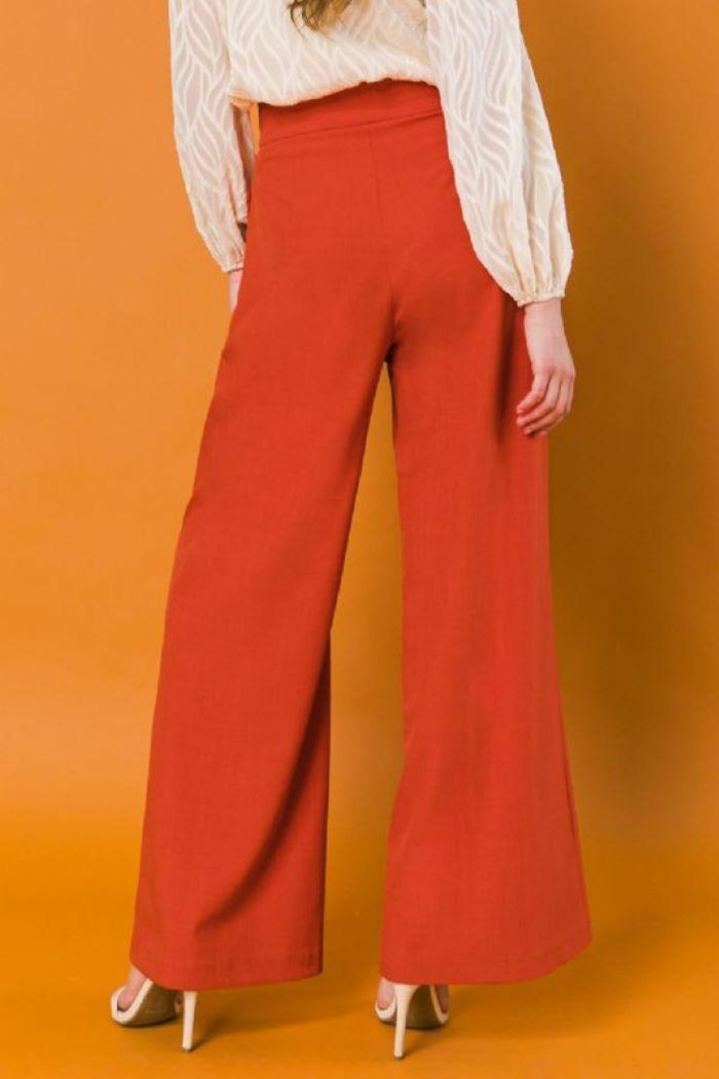Flying Tomato High Waist Wide Leg Woven Pants - Back Cropped Image