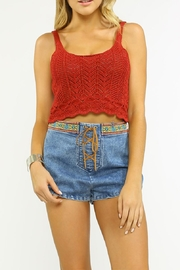 Flying Tomato Knit Metalic Red Top - Front cropped