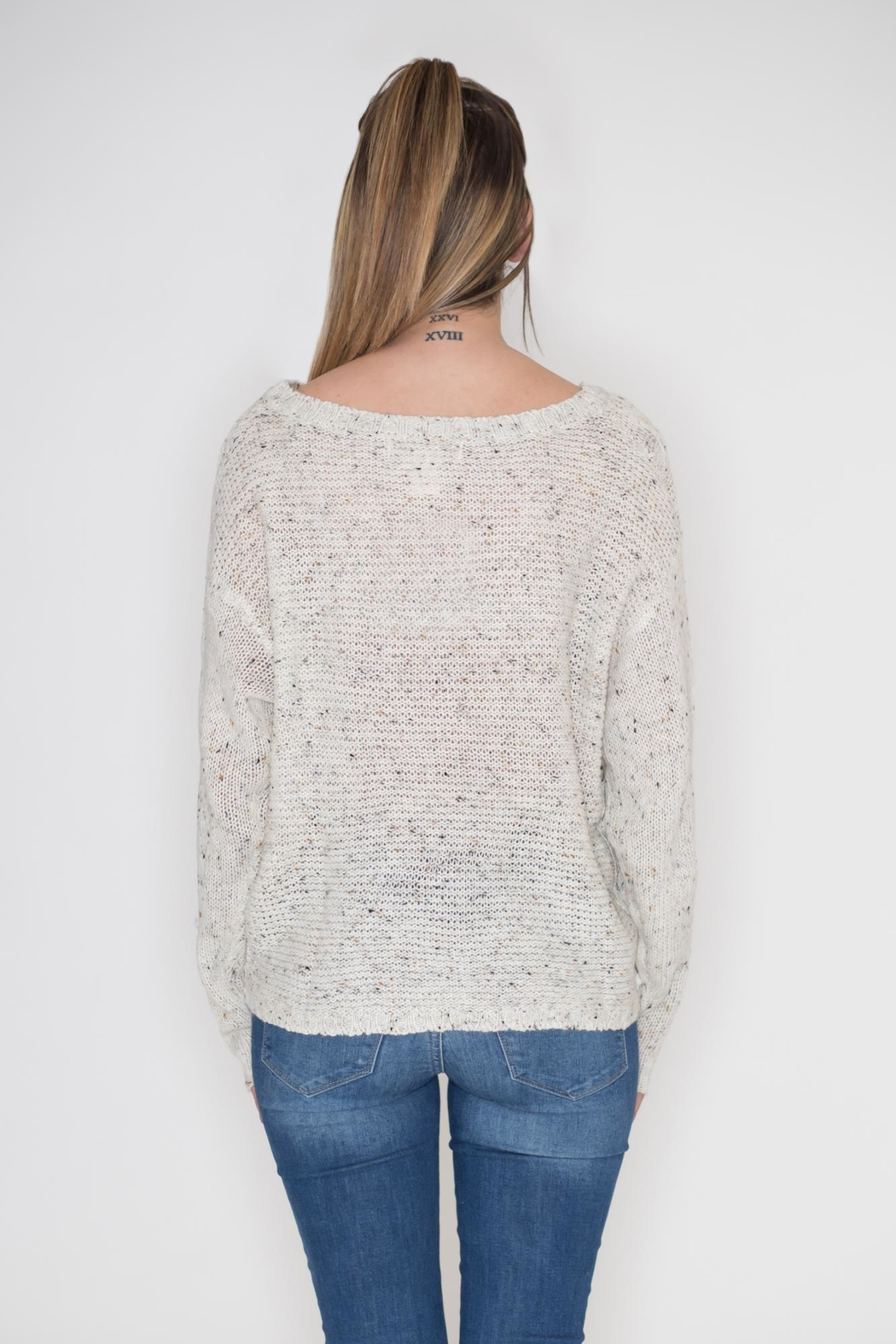 Flying Tomato Lace Panel Sweater - Side Cropped Image