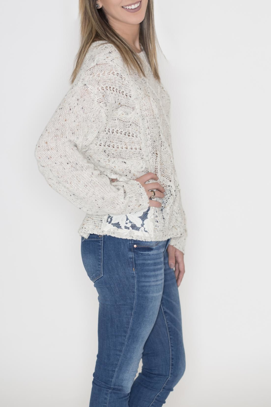 Flying Tomato Lace Panel Sweater - Front Full Image