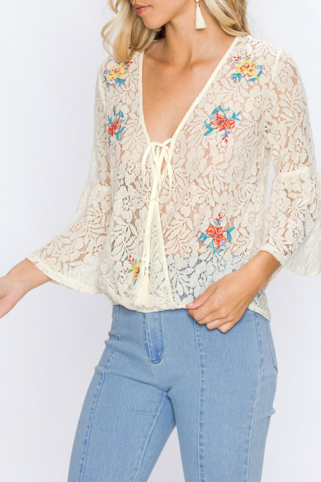 Flying Tomato Lacey Embroidered Top - Side Cropped Image