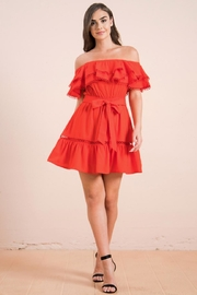 Flying Tomato Off-Shoulder Red Dress - Product Mini Image