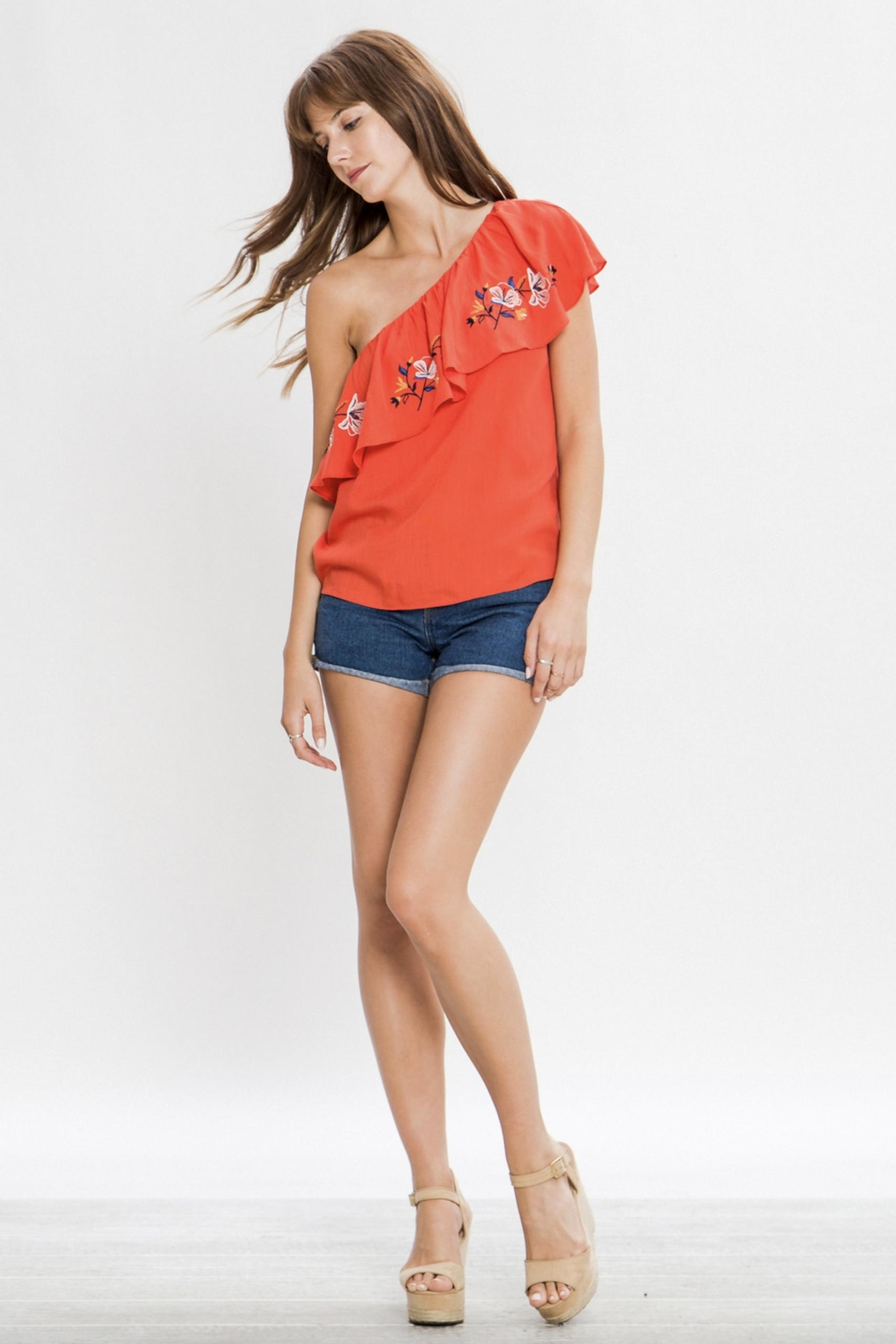 Flying Tomato One Shoulder Embroidered Top - Side Cropped Image