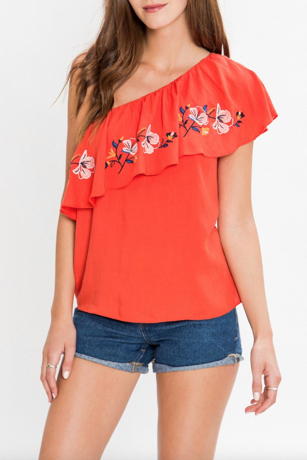 Flying Tomato One Shoulder Embroidered Top - Main Image