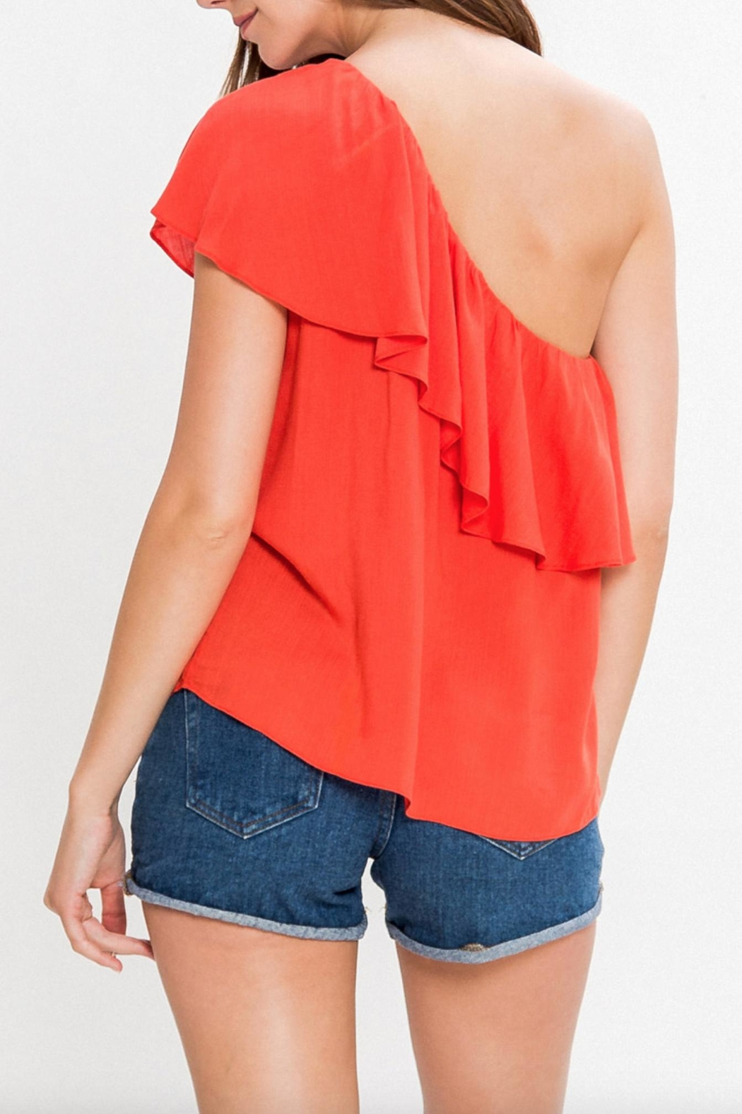 Flying Tomato One Shoulder Embroidered Top - Front Full Image
