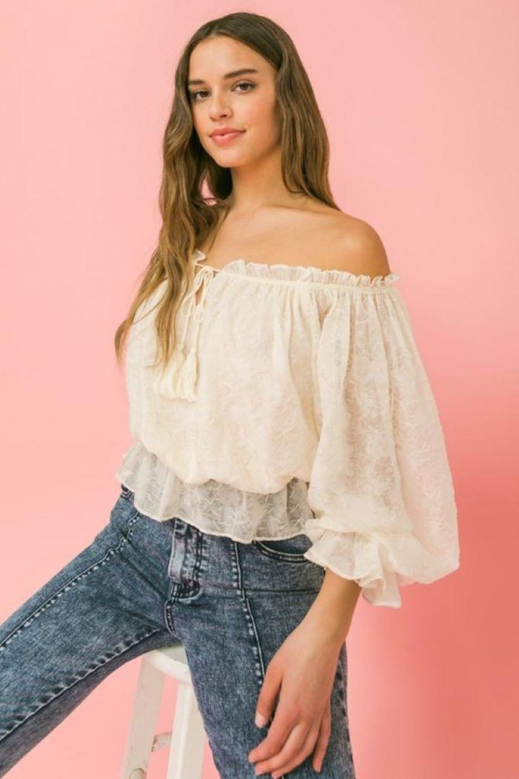 Flying Tomato Ot Lovecolette Textured Woven Top - Back Cropped Image
