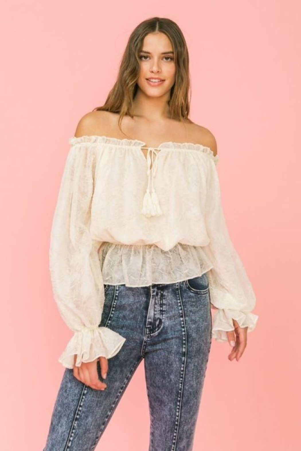 Flying Tomato Ot Lovecolette Textured Woven Top - Side Cropped Image