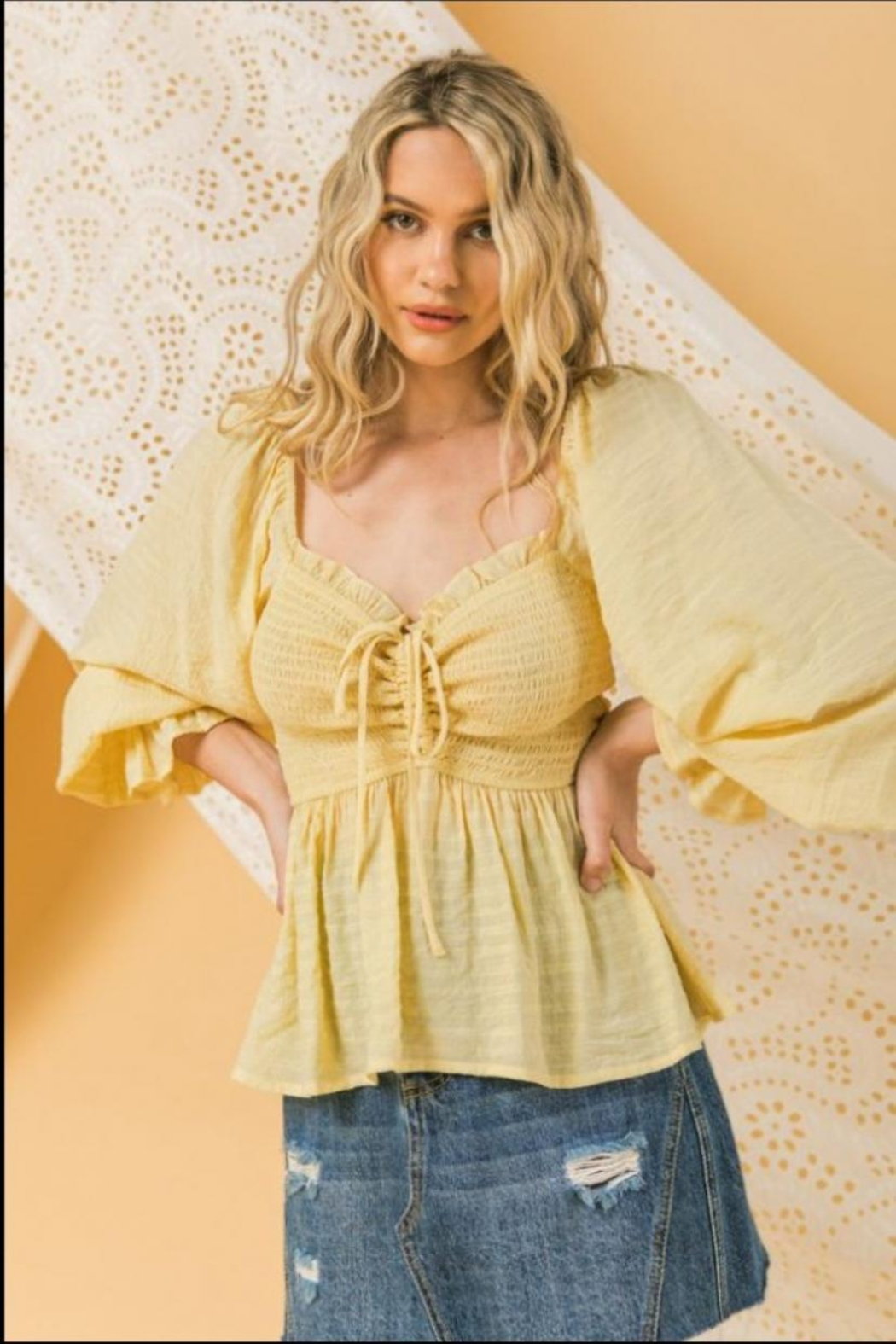 Flying Tomato Peasant Sleeve Top - Main Image