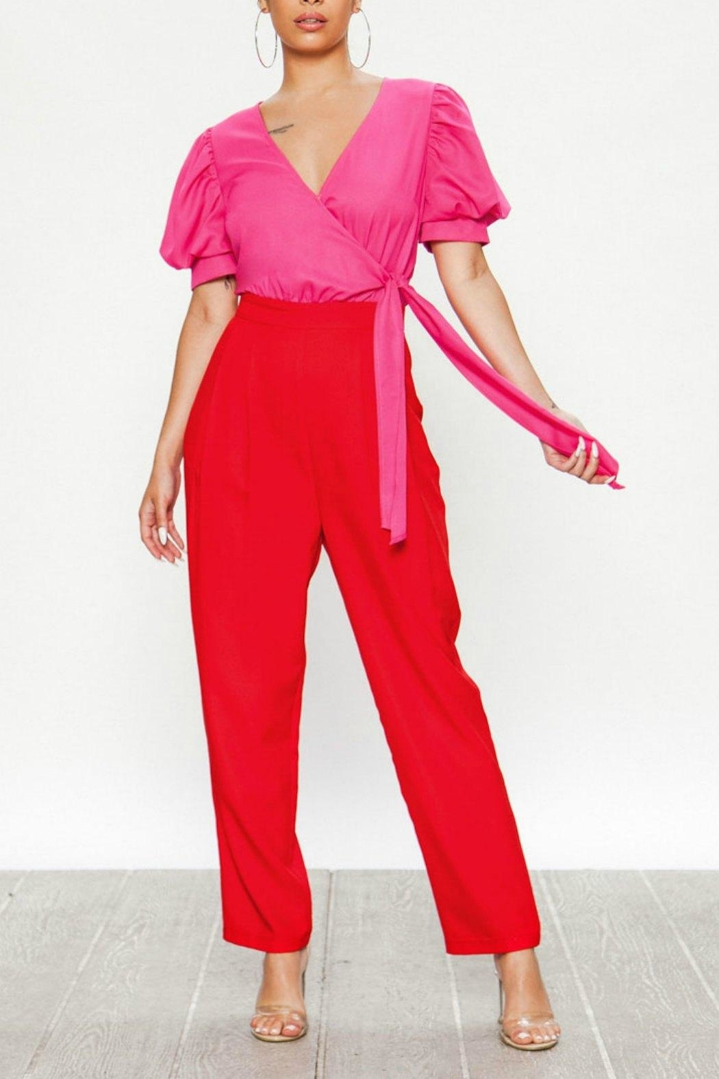Flying Tomato Pink & Red Jumpsuit - Main Image