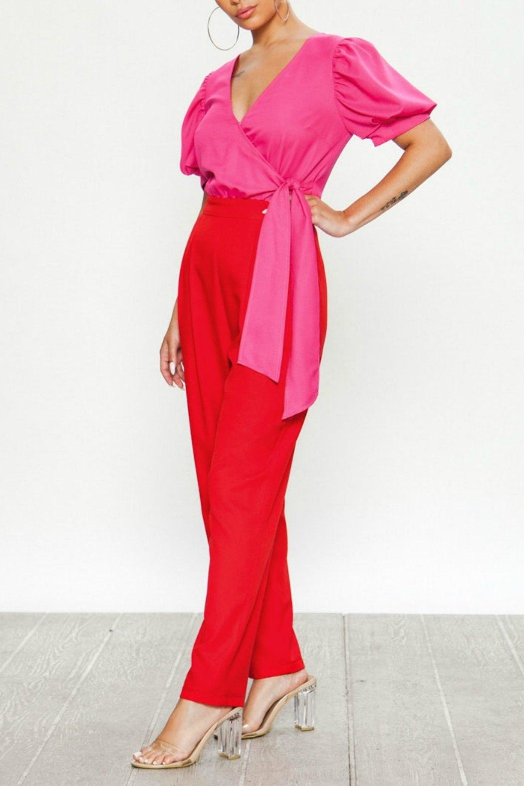 Flying Tomato Pink & Red Jumpsuit - Front Full Image