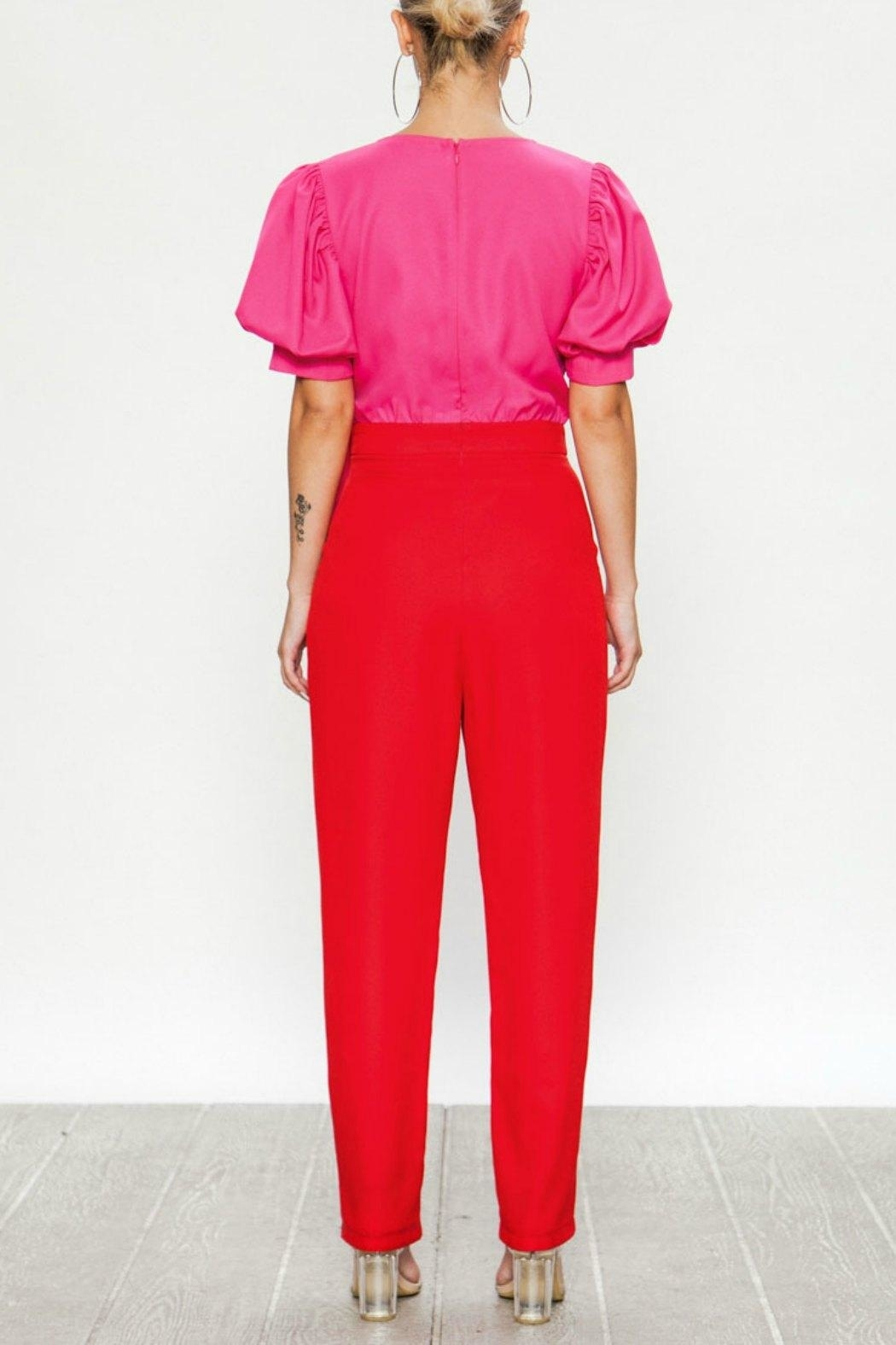 Flying Tomato Pink & Red Jumpsuit - Side Cropped Image