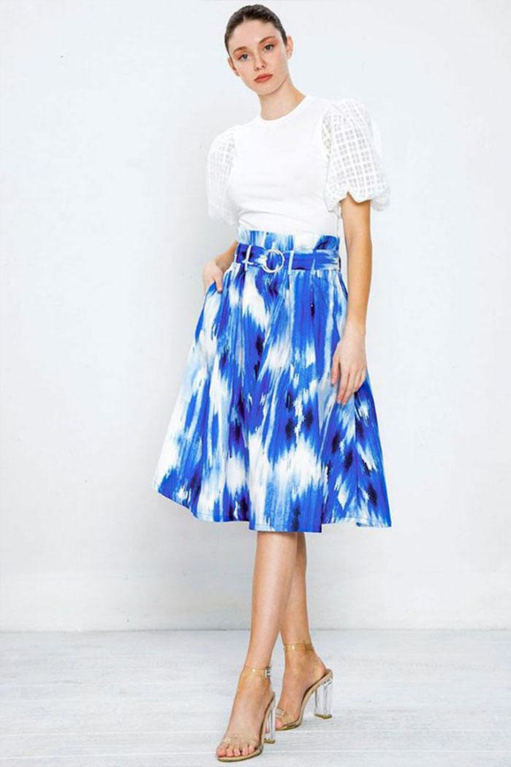 Flying Tomato Pleated Printed Skirt - Main Image