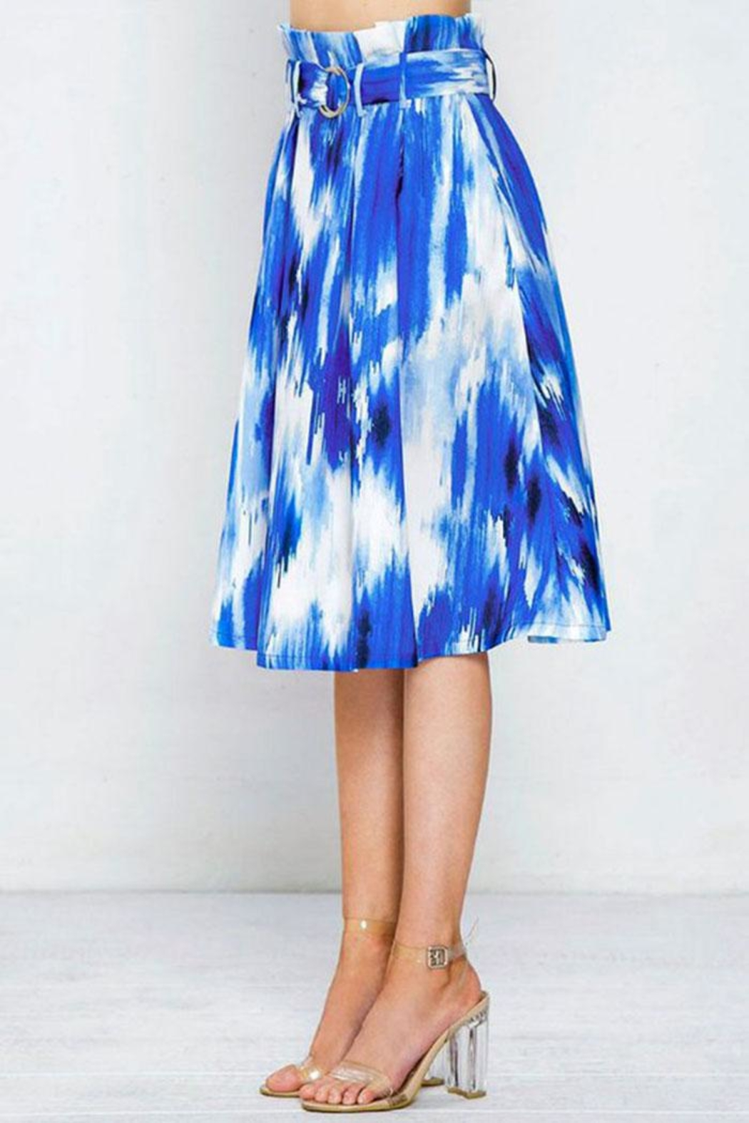 Flying Tomato Pleated Printed Skirt - Back Cropped Image
