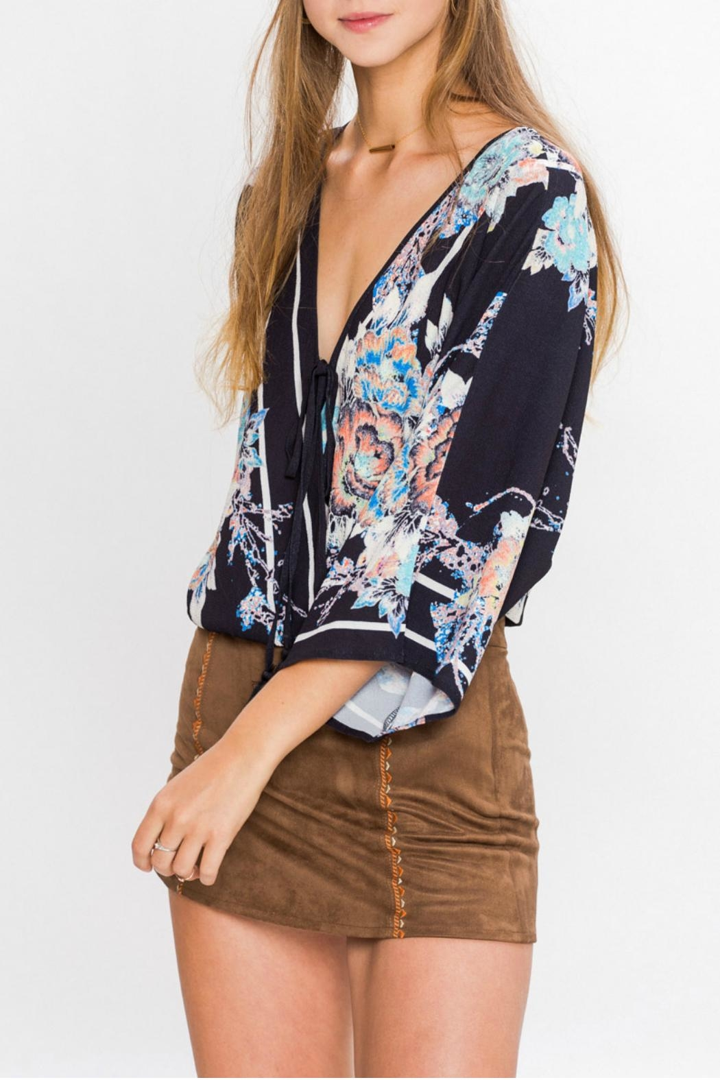 Flying Tomato Print Wrap Blouse - Side Cropped Image