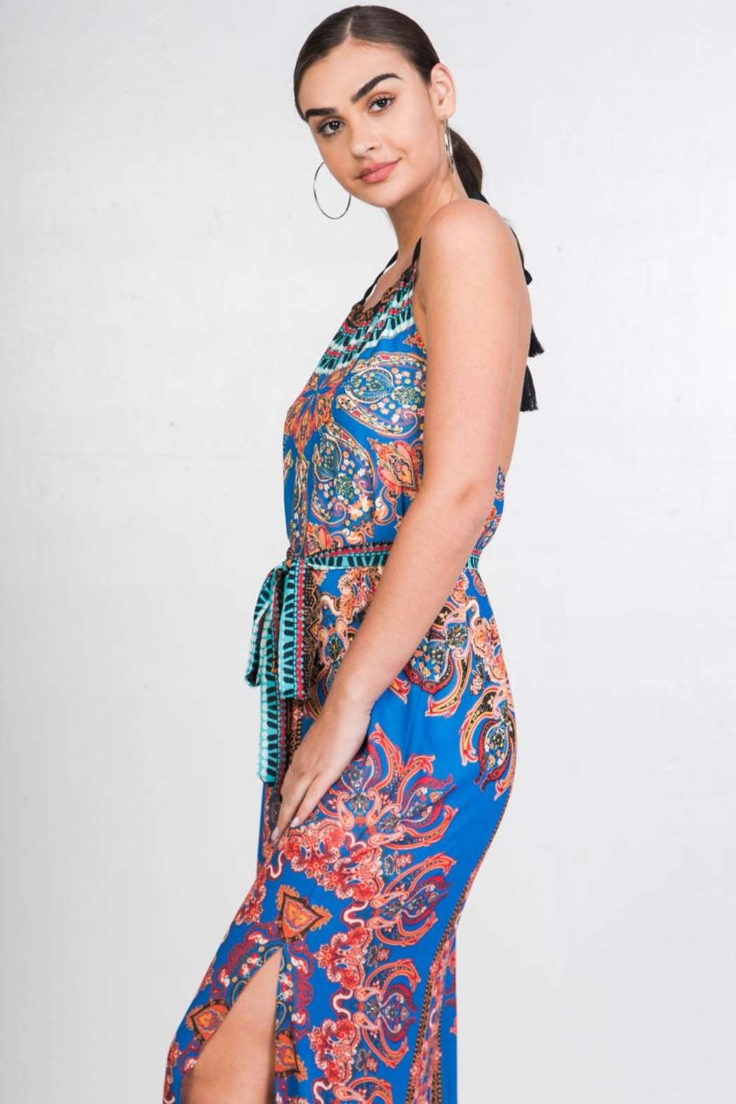 Flying Tomato Printed Halter Dress - Side Cropped Image