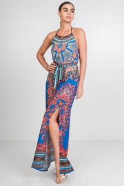 Flying Tomato Printed Halter Dress - Front cropped