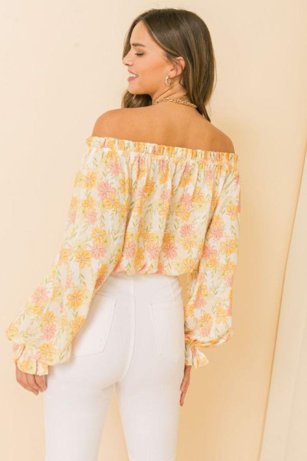 Flying Tomato Printed Off Shoulder Top - Front Full Image