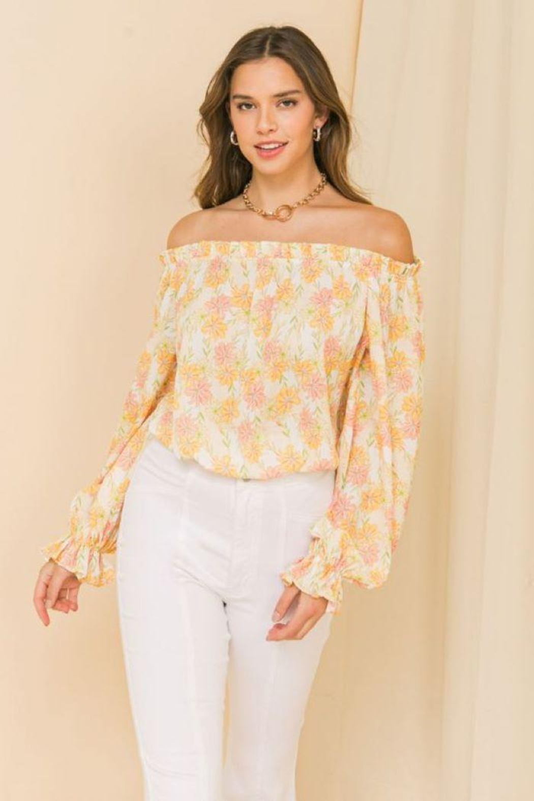 Flying Tomato Printed Off Shoulder Top - Main Image