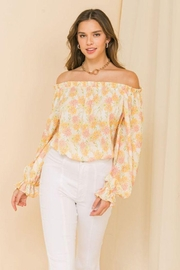 Flying Tomato Printed Off Shoulder Top - Product Mini Image
