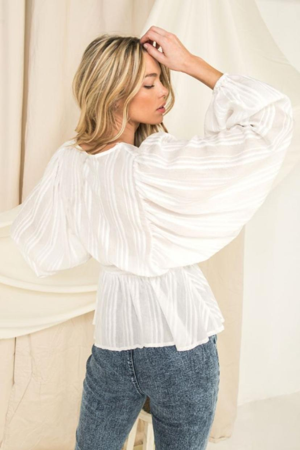Flying Tomato Puff Sleeve Top - Front Full Image