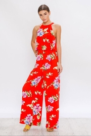 Flying Tomato Red Floral Jumpsuit - Product Mini Image