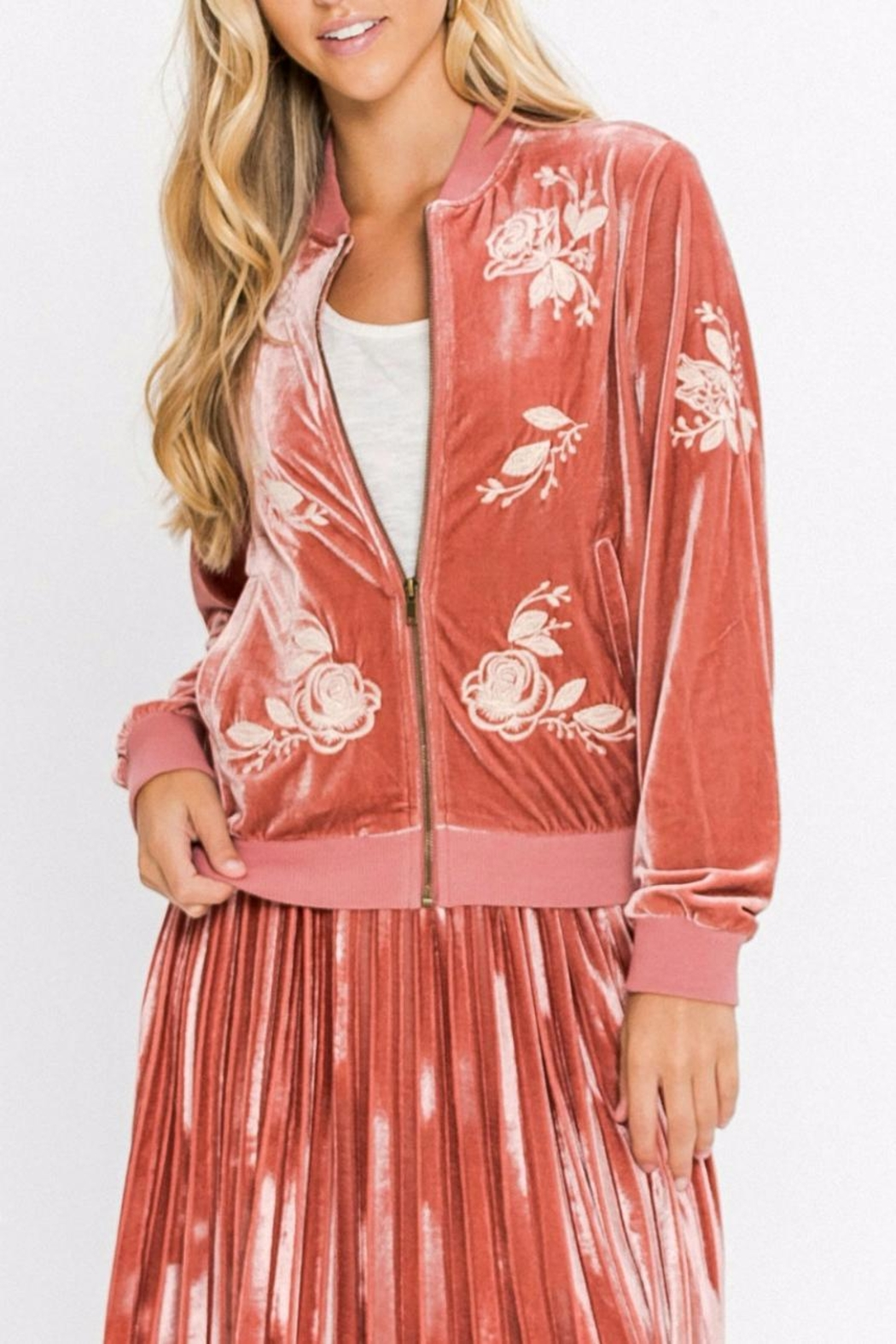 34c20e804b937 Flying Tomato Rose Velvet Bomber Jacket from Wyckoff by Bedford ...