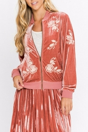 Flying Tomato Rose Velvet Bomber Jacket - Product Mini Image