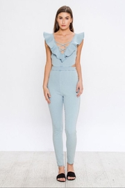 Flying Tomato Ruffled Denim Jumpsuit - Front cropped