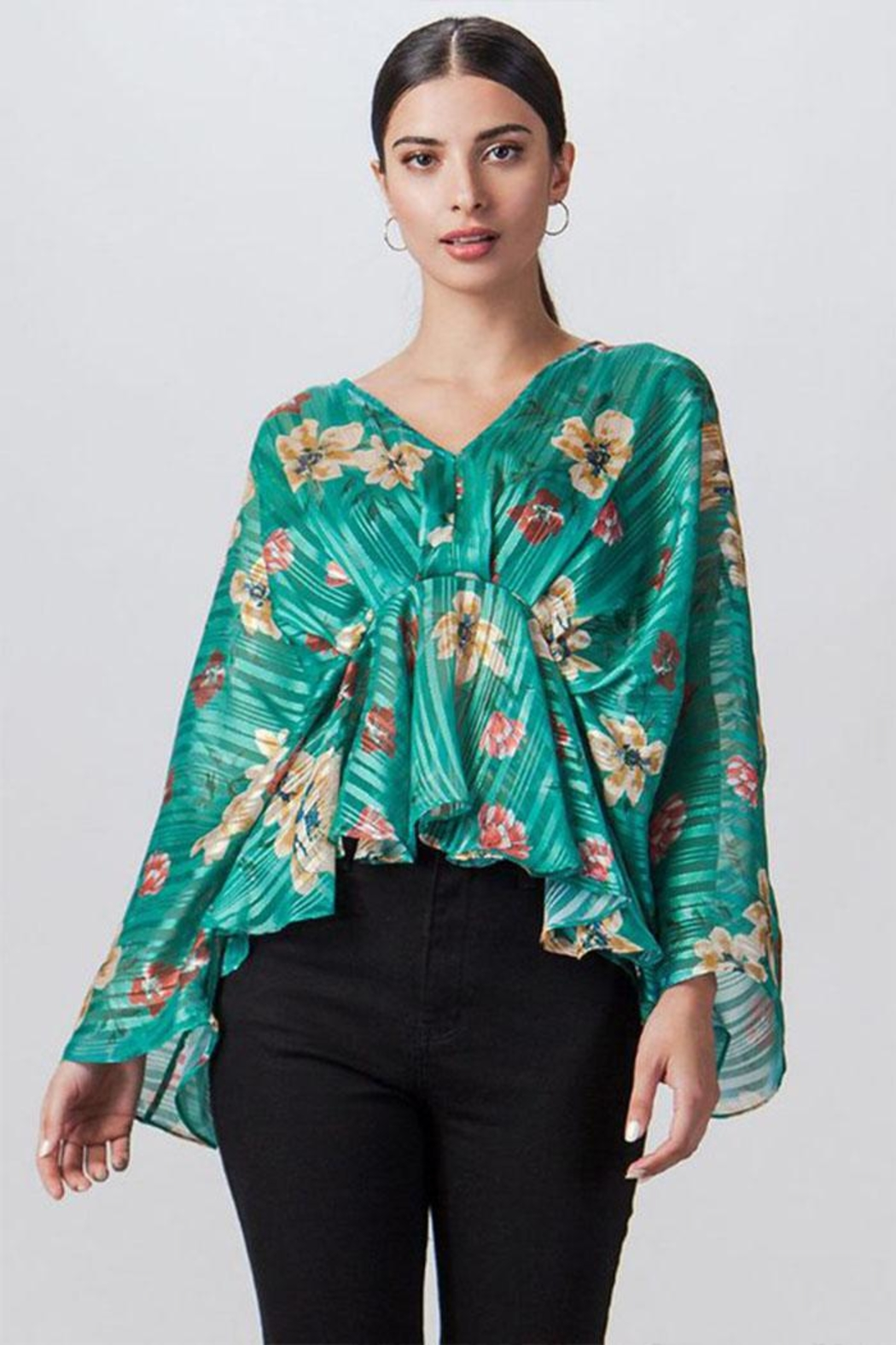 Flying Tomato Stripe Floral Top - Main Image