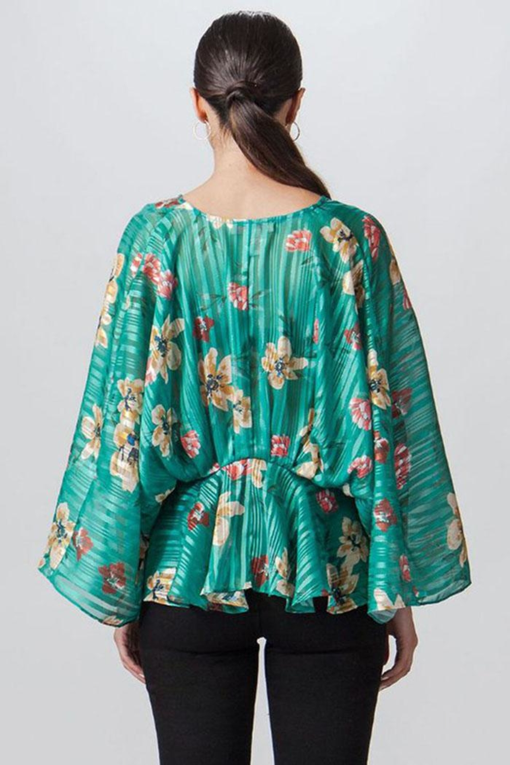 Flying Tomato Stripe Floral Top - Side Cropped Image