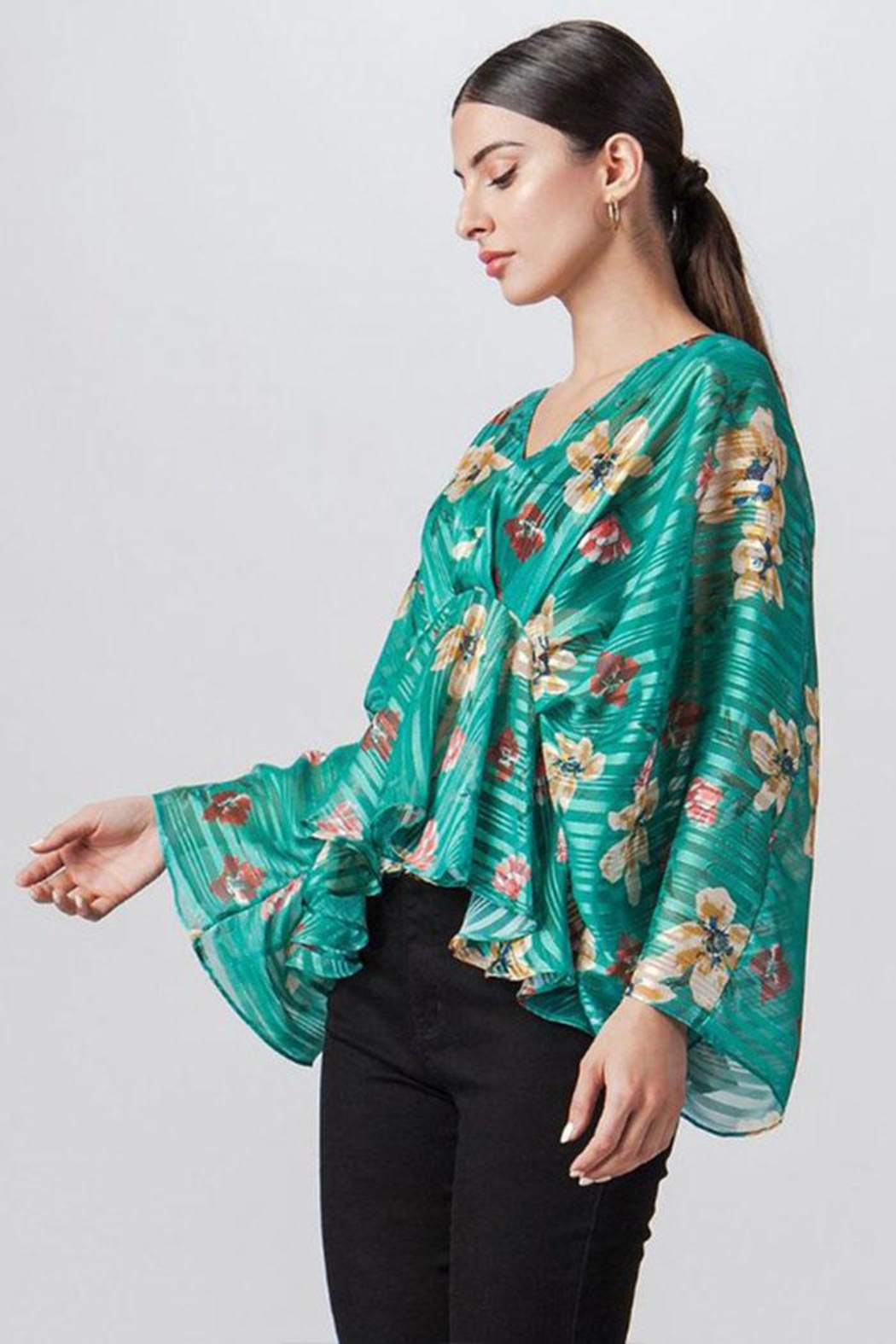 Flying Tomato Stripe Floral Top - Front Full Image
