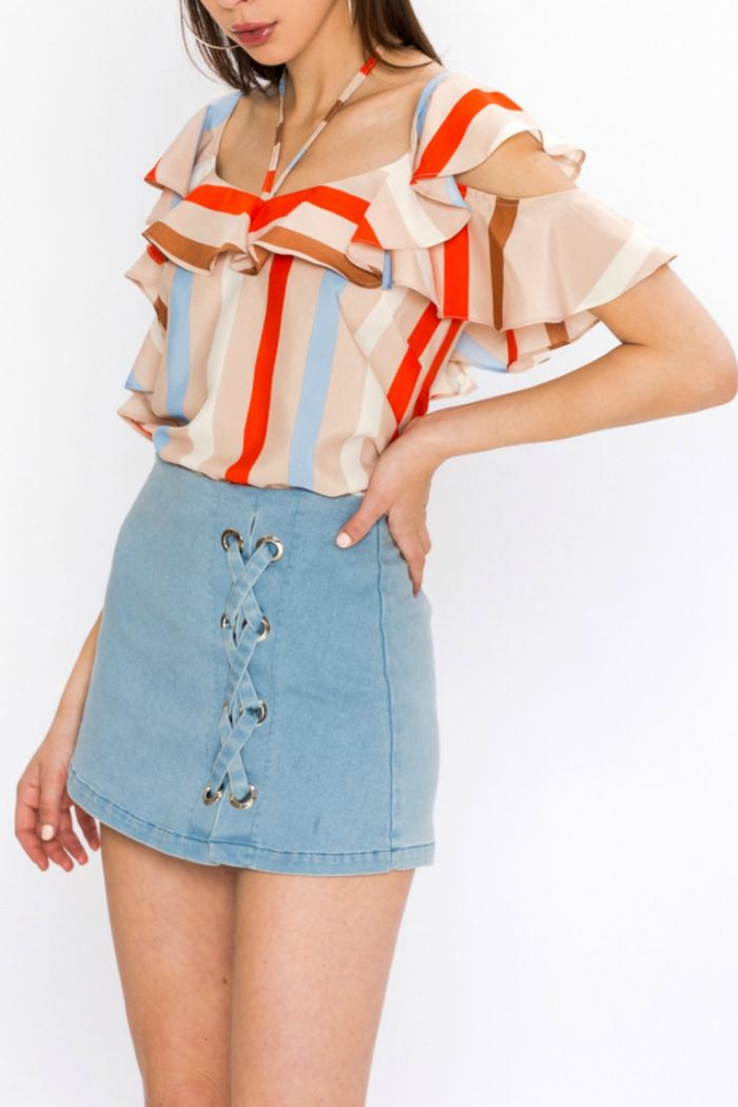 Flying Tomato Stripe Ruffle Top - Front Full Image