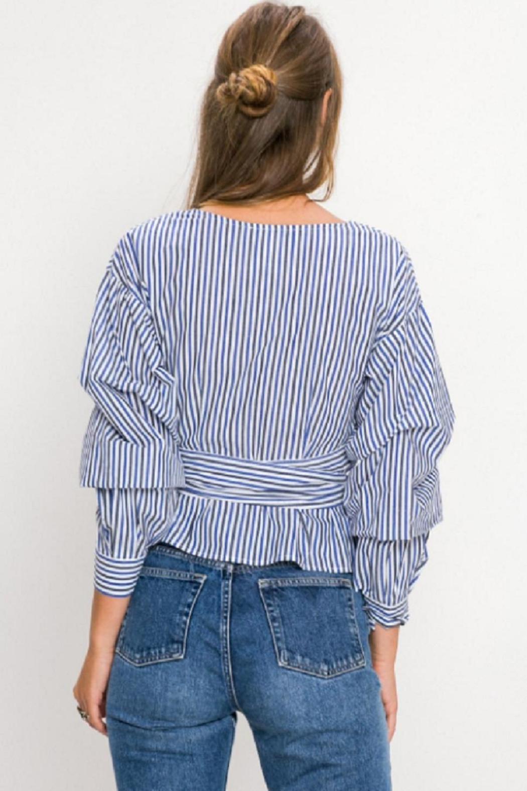 Flying Tomato Striped Wrap Blouse - Side Cropped Image