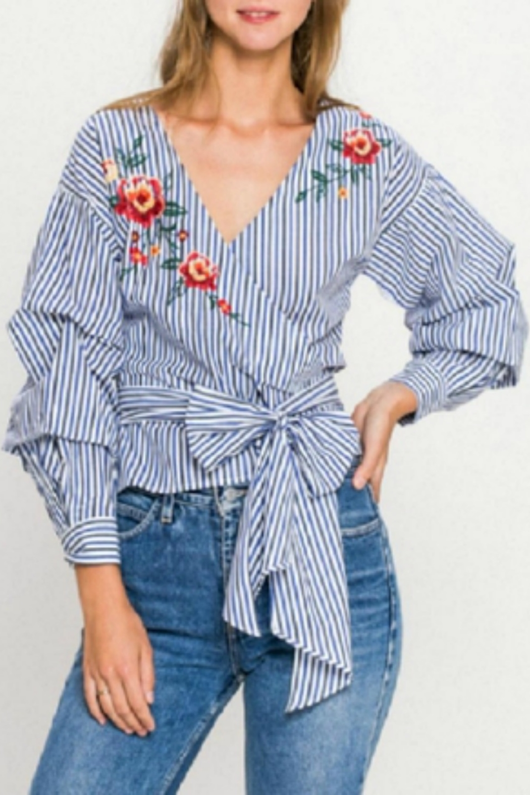 Flying Tomato Striped Wrap Blouse - Main Image