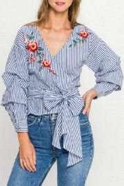 Flying Tomato Striped Wrap Blouse - Product Mini Image