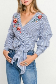 Flying Tomato Striped Wrap Blouse - Front full body