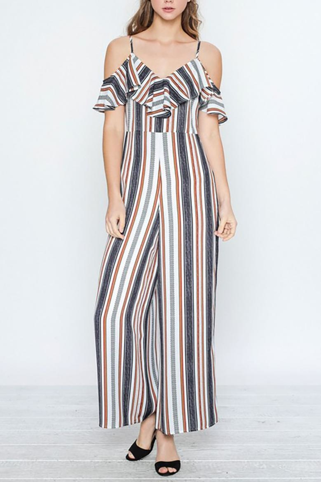 f570ab50fc6 Flying Tomato Striped Ruffle Jumpsuit from Virginia by mod soul ...